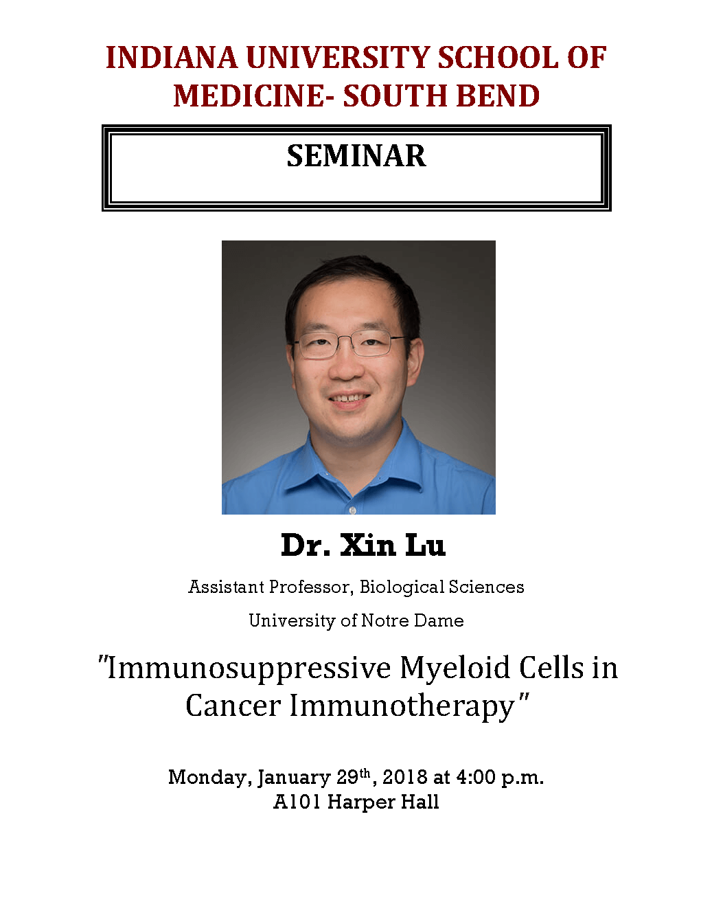 Dr Xin Lu Seminar January 29 2018